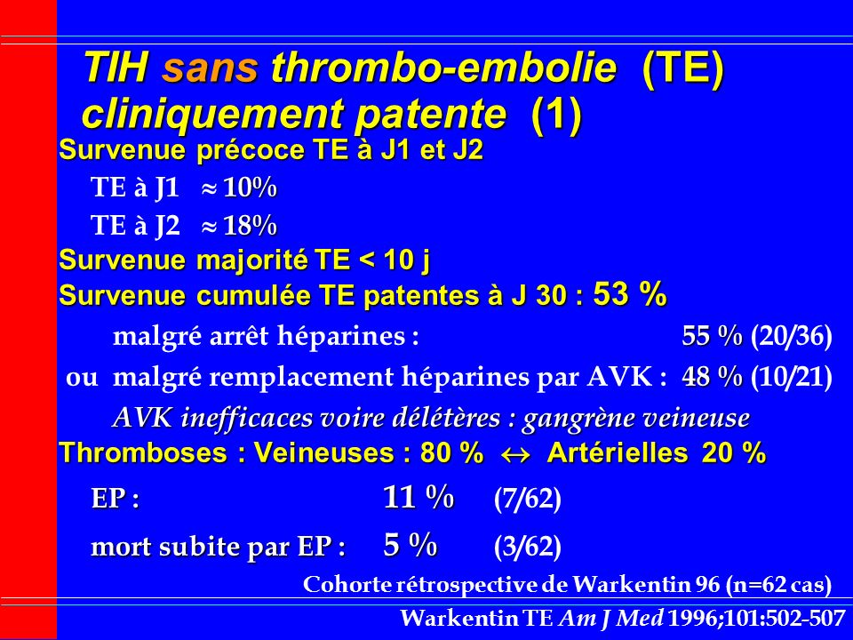 TIH sans thrombo-embolie (TE) cliniquement patente (1)