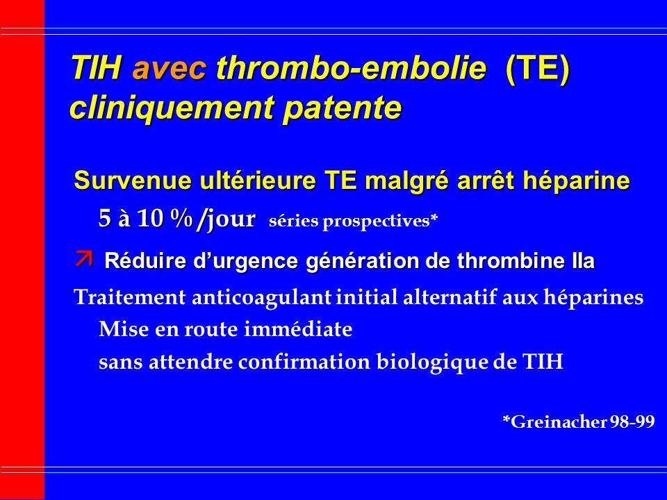 TIH avec thrombo-embolie (TE) cliniquement patente