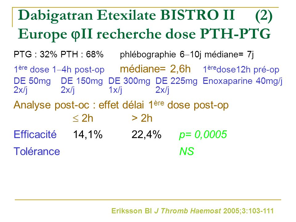 Dabigatran Etexilate BISTRO II (2) Europe II recherche dose PTH-PTG