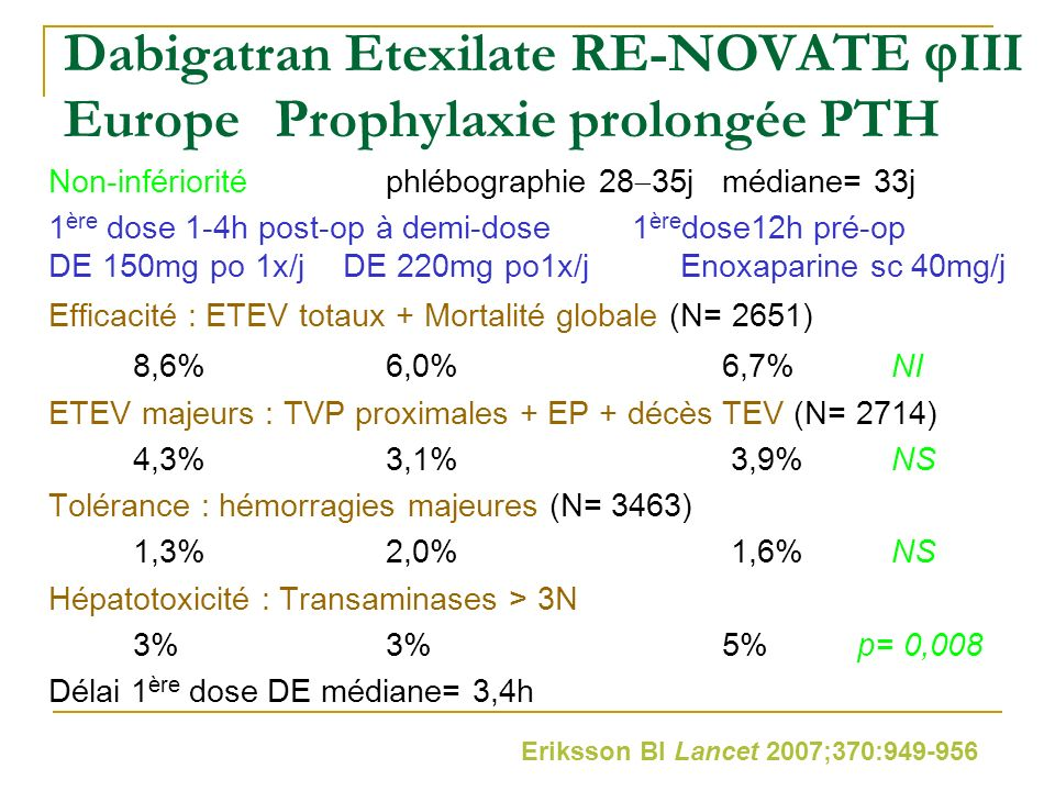 Dabigatran Etexilate RE-NOVATE III Europe Prophylaxie prolongée PTH