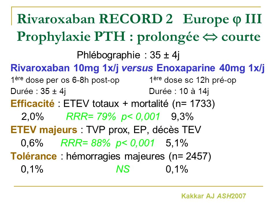 Rivaroxaban RECORD 2 Europe  III Prophylaxie PTH : prolongée  courte