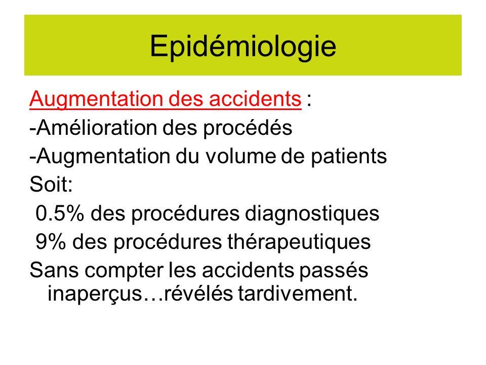 Epidémiologie Augmentation des accidents : -Amélioration des procédés