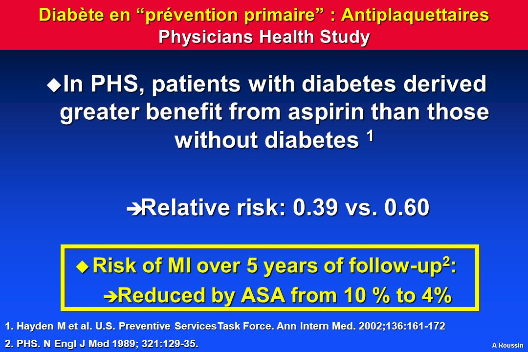 Risk of MI over 5 years of follow-up2: Reduced by ASA from 10 % to 4%