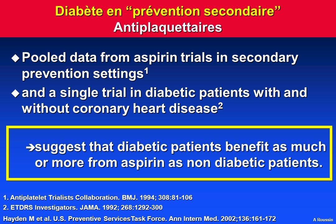 Diabète en prévention secondaire Antiplaquettaires