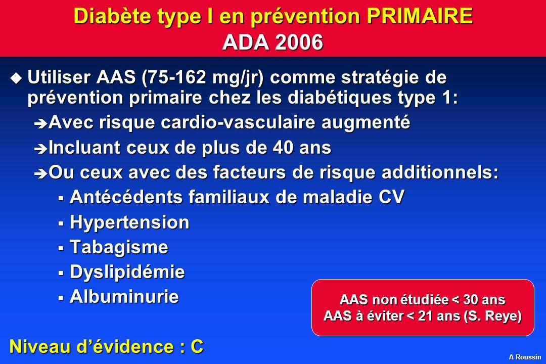 Diabète type I en prévention PRIMAIRE ADA 2006