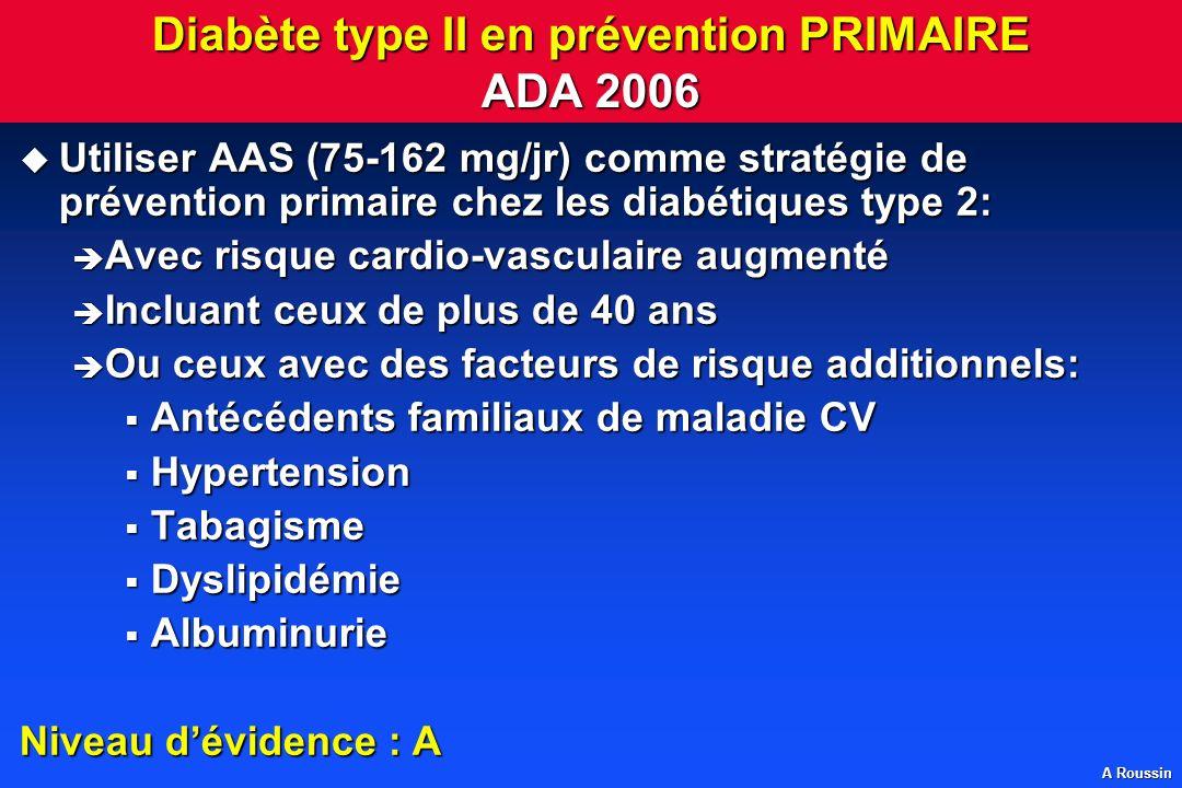 Diabète type II en prévention PRIMAIRE ADA 2006