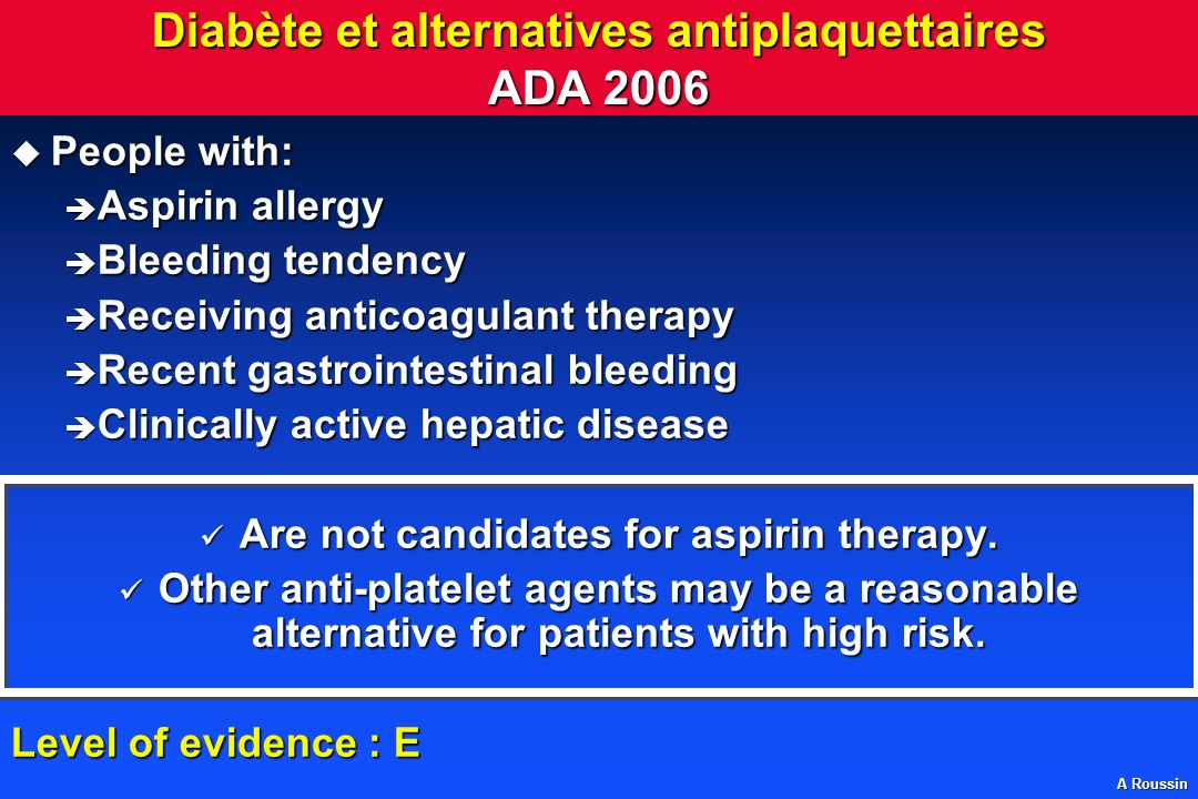 Diabète et alternatives antiplaquettaires ADA 2006