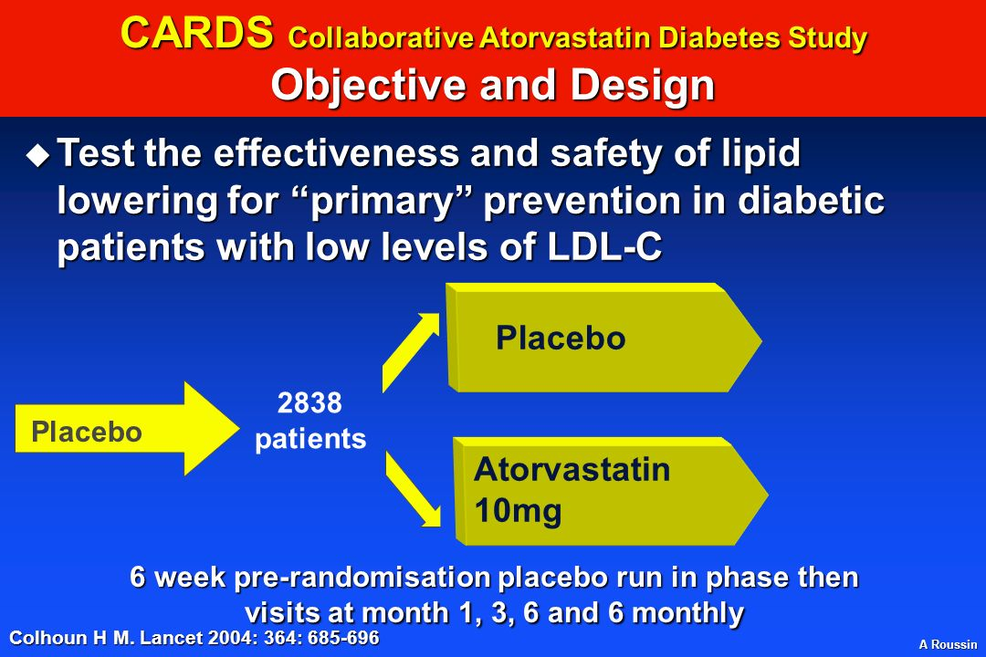 CARDS Collaborative Atorvastatin Diabetes Study Objective and Design
