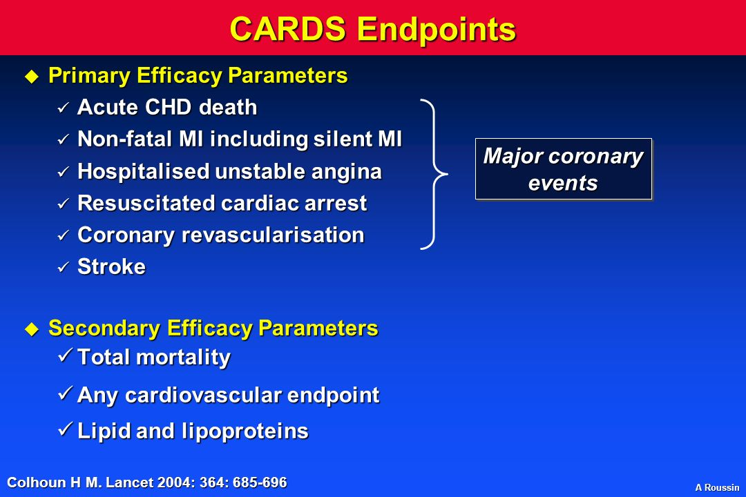 CARDS Endpoints Primary Efficacy Parameters Acute CHD death