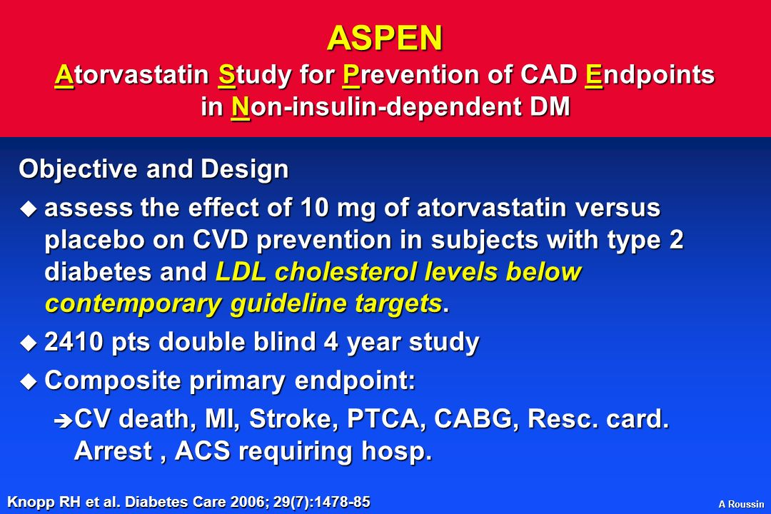 ASPEN Atorvastatin Study for Prevention of CAD Endpoints in Non-insulin-dependent DM