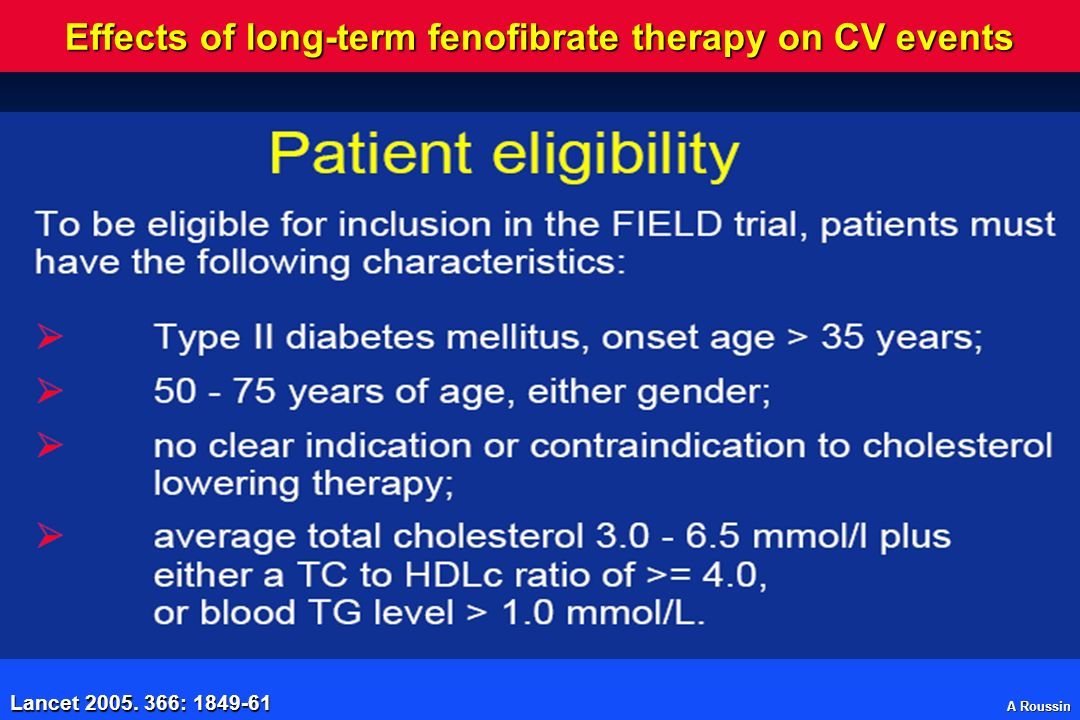 Effects of long-term fenofibrate therapy on CV events