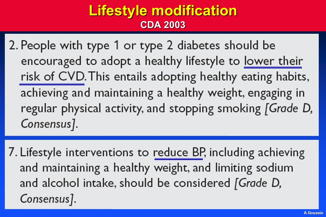 Lifestyle modification CDA 2003