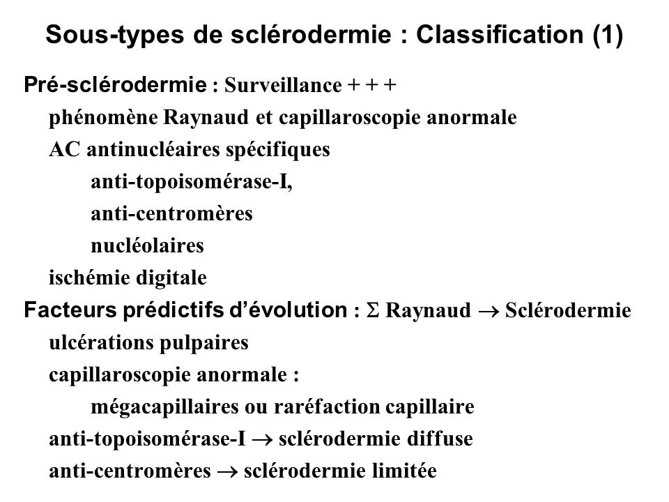 Sous-types de sclérodermie : Classification (1)