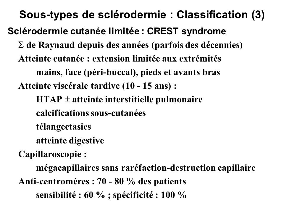Sous-types de sclérodermie : Classification (3)