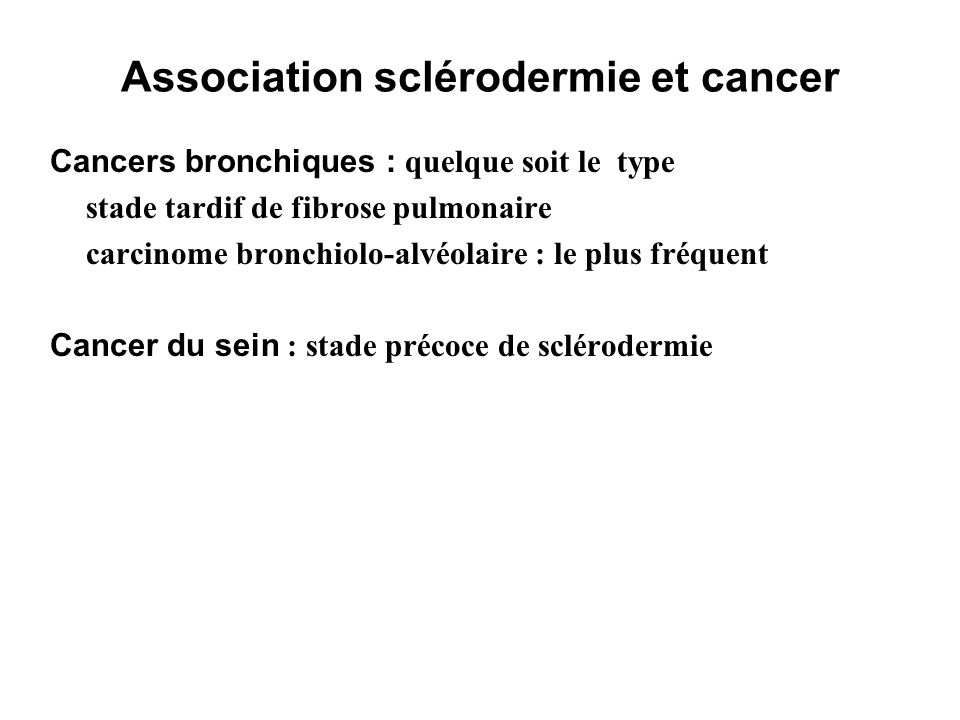 Association sclérodermie et cancer