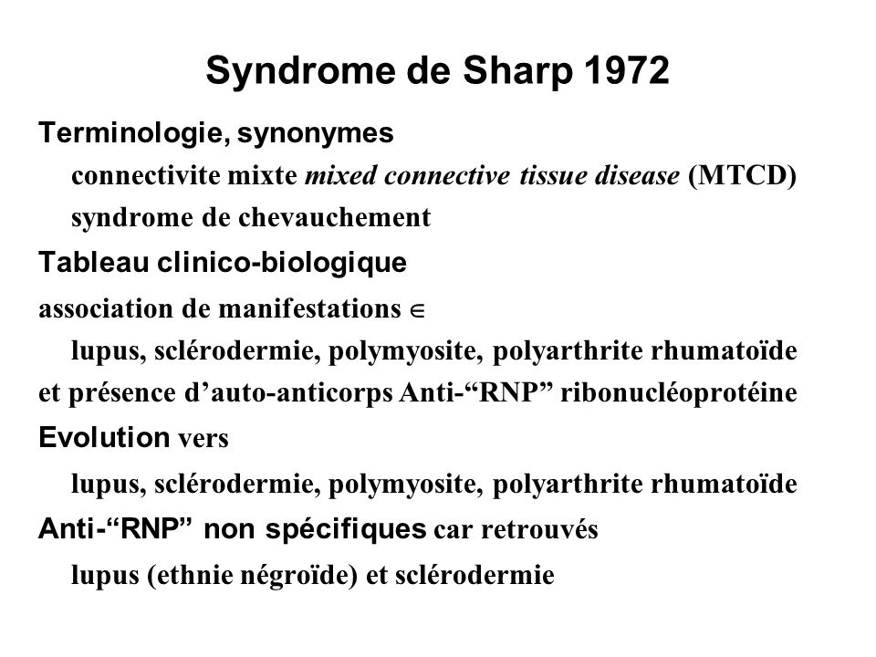 Syndrome de Sharp 1972 Terminologie, synonymes