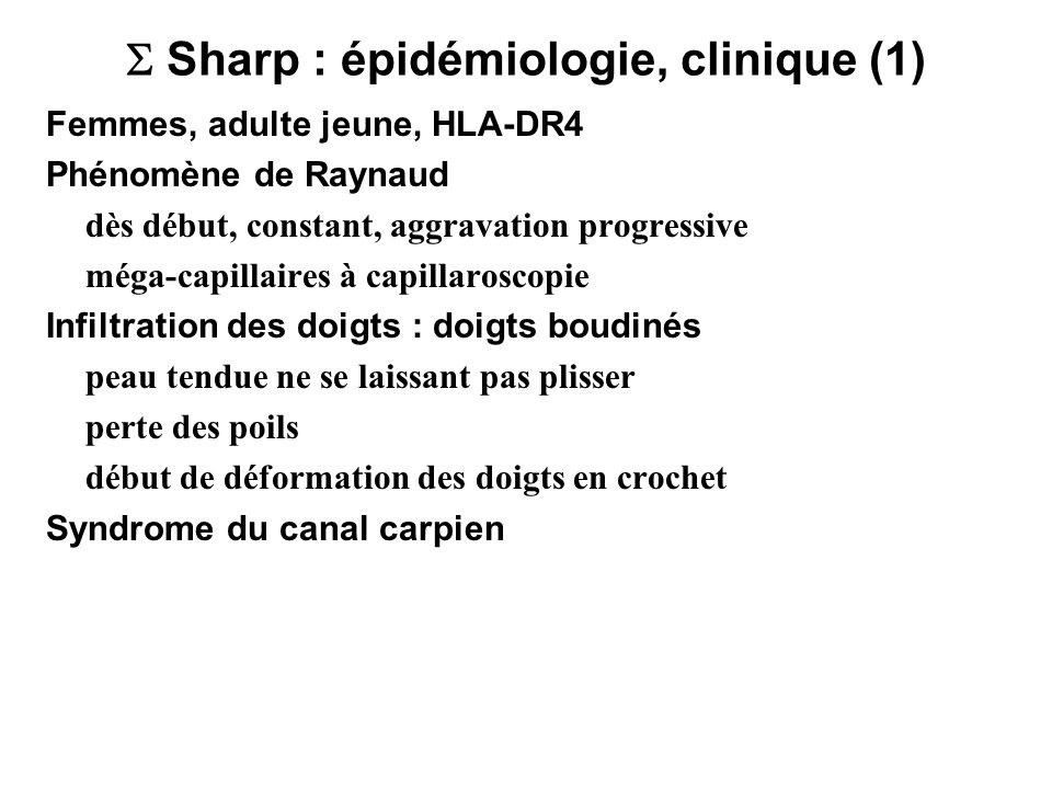  Sharp : épidémiologie, clinique (1)