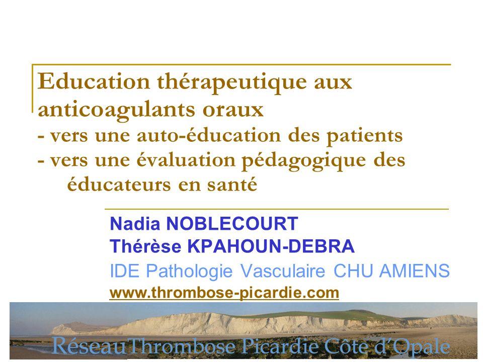 Education thérapeutique aux anticoagulants oraux - vers une auto-éducation des patients - vers une évaluation pédagogique des éducateurs en santé