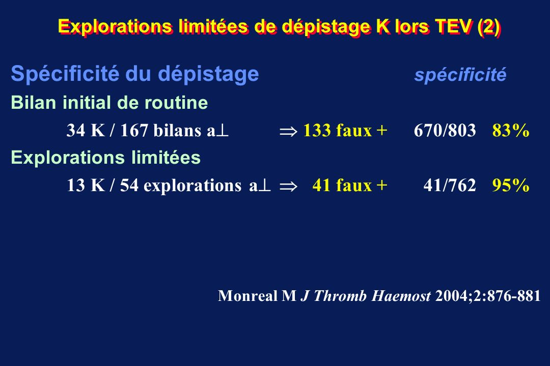 Explorations limitées de dépistage K lors TEV (2)