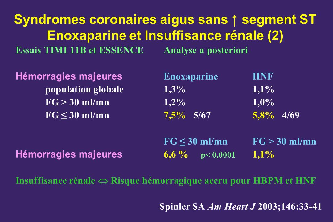 Syndromes coronaires aigus sans ↑ segment ST Enoxaparine et Insuffisance rénale (2)