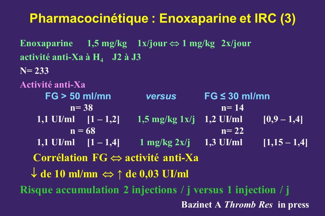 Pharmacocinétique : Enoxaparine et IRC (3)