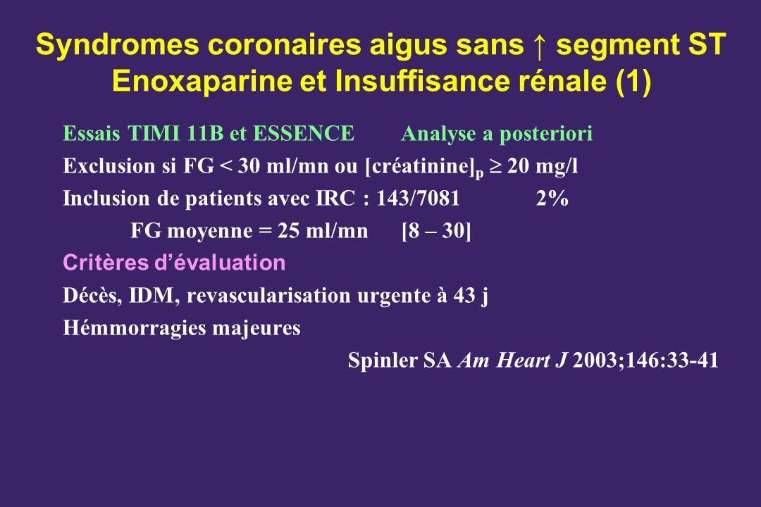 Syndromes coronaires aigus sans ↑ segment ST Enoxaparine et Insuffisance rénale (1)