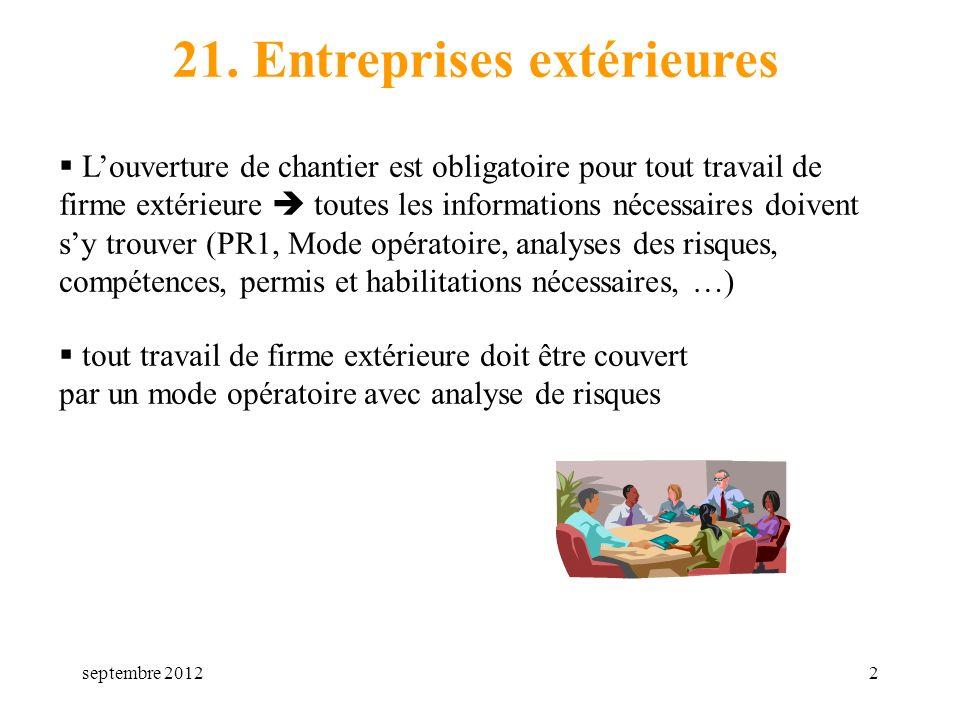 21. Entreprises extérieures