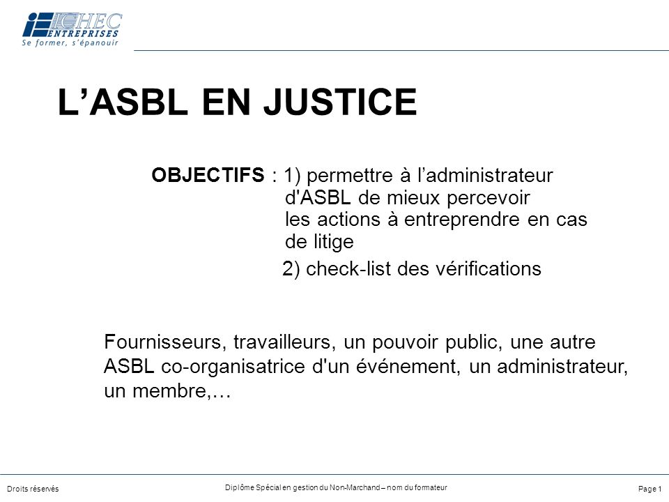 2) check-list des vérifications