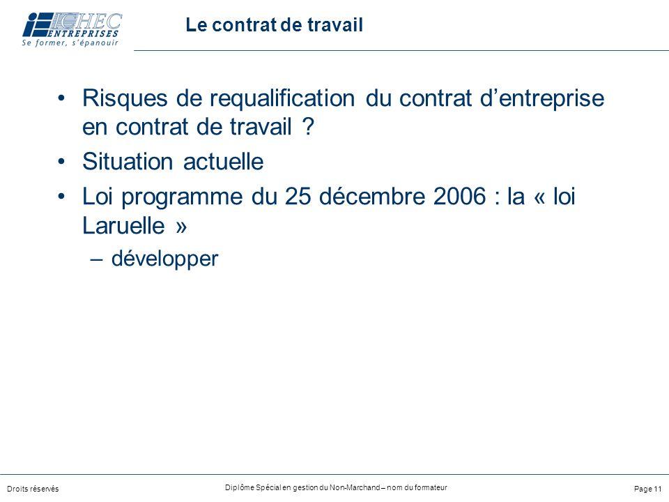 Loi programme du 25 décembre 2006 : la « loi Laruelle »