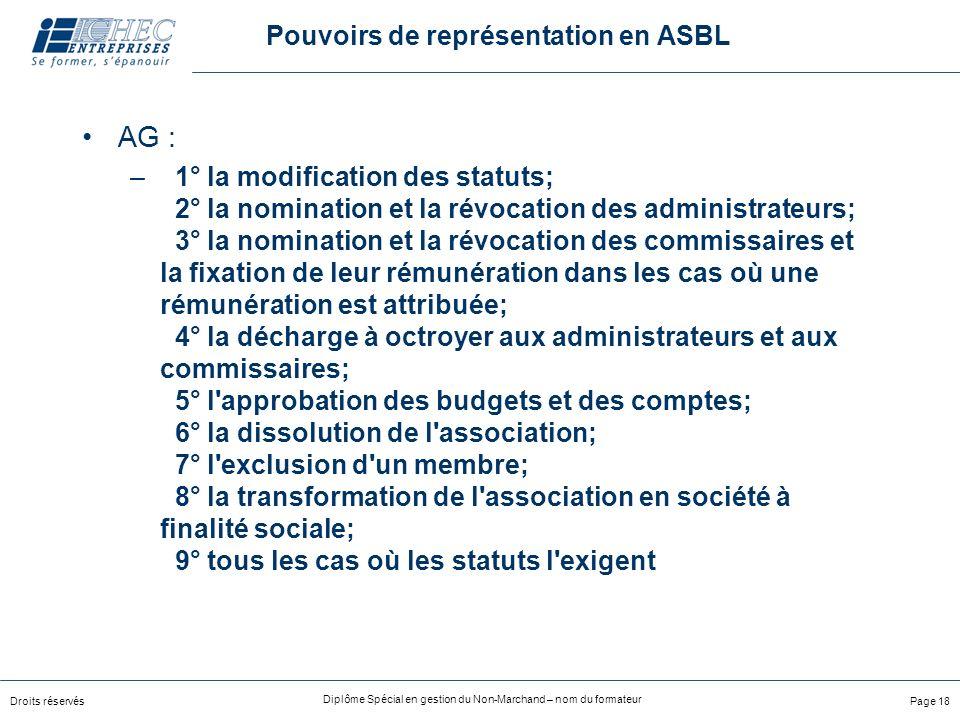 Pouvoirs de représentation en ASBL