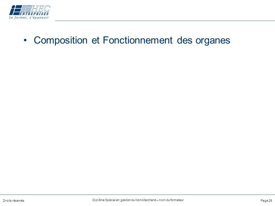 Composition et Fonctionnement des organes