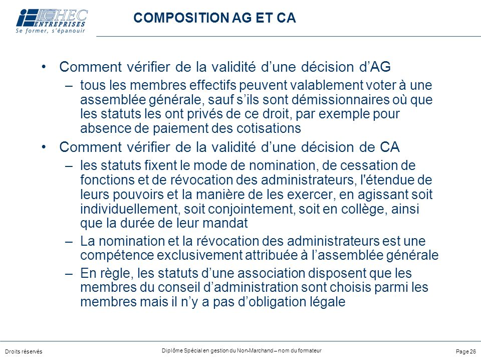Comment vérifier de la validité d'une décision d'AG