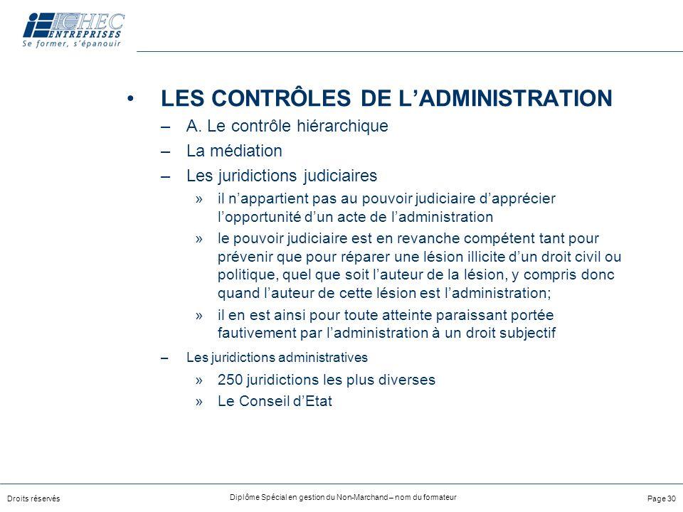 LES CONTRÔLES DE L'ADMINISTRATION