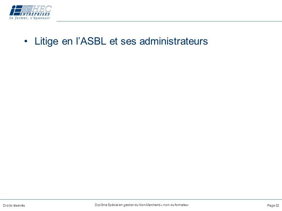 Litige en l'ASBL et ses administrateurs