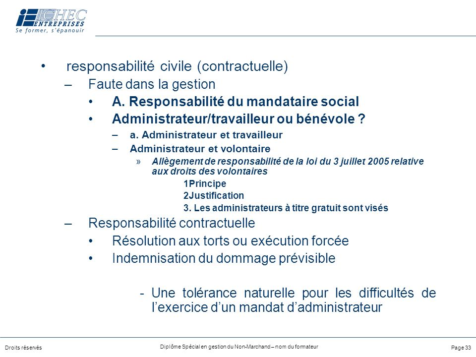 responsabilité civile (contractuelle)
