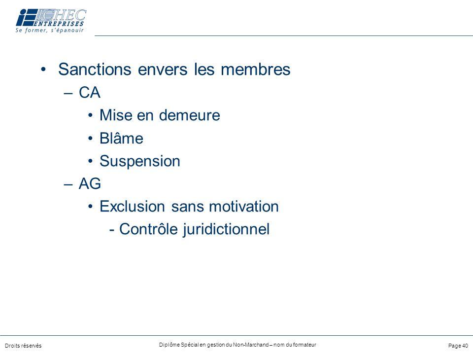 Sanctions envers les membres