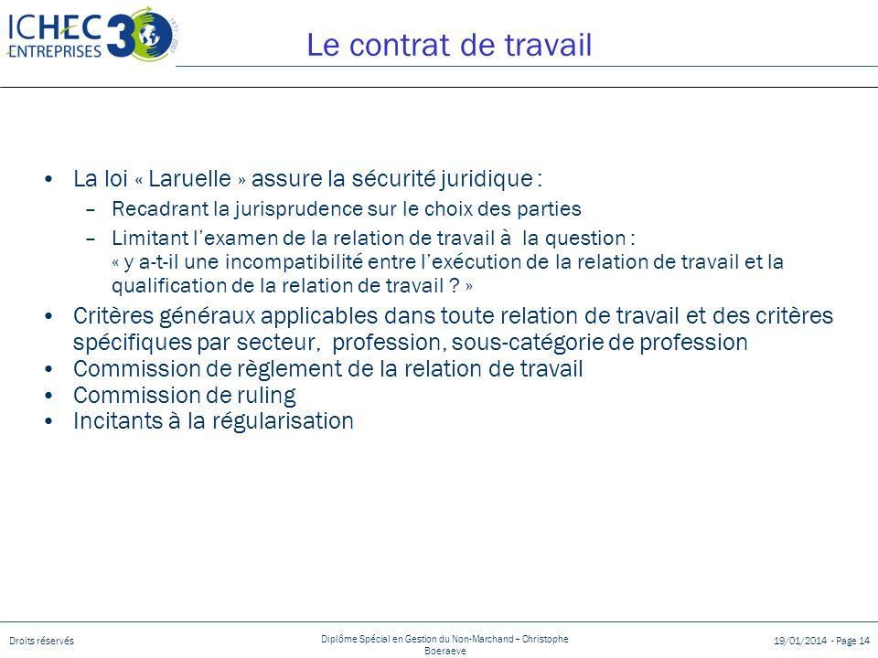 Le contrat de travail La loi « Laruelle » assure la sécurité juridique : Recadrant la jurisprudence sur le choix des parties.