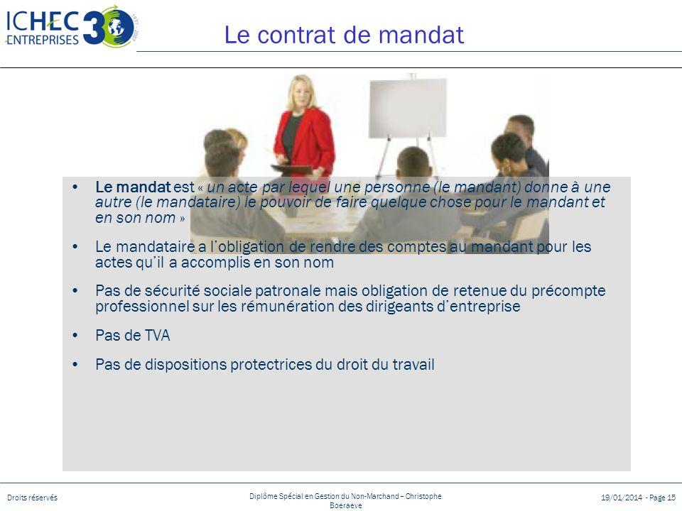 Le contrat de mandat