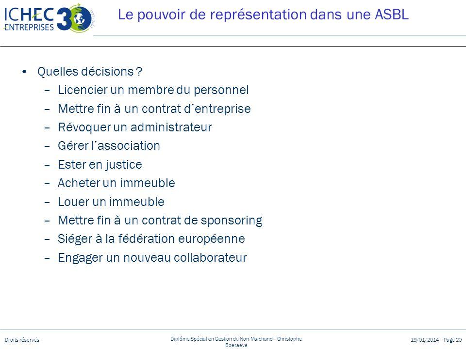 Le pouvoir de représentation dans une ASBL