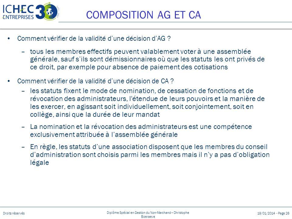 COMPOSITION AG ET CA Comment vérifier de la validité d'une décision d'AG