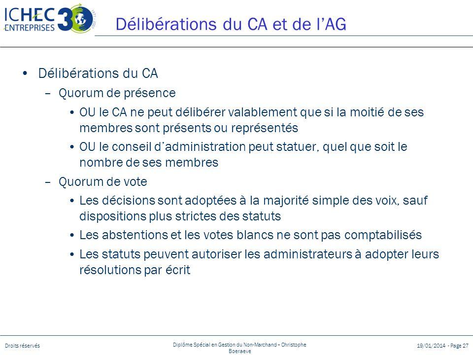Délibérations du CA et de l'AG