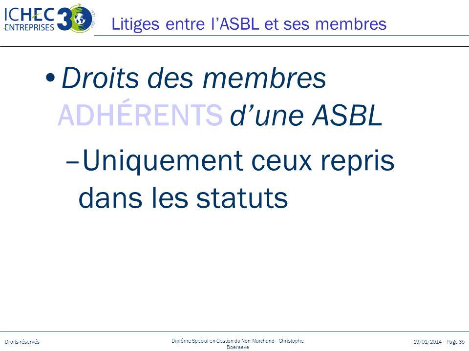 Litiges entre l'ASBL et ses membres