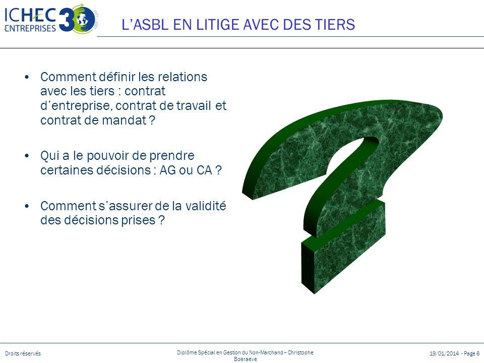 L'ASBL EN LITIGE AVEC DES TIERS