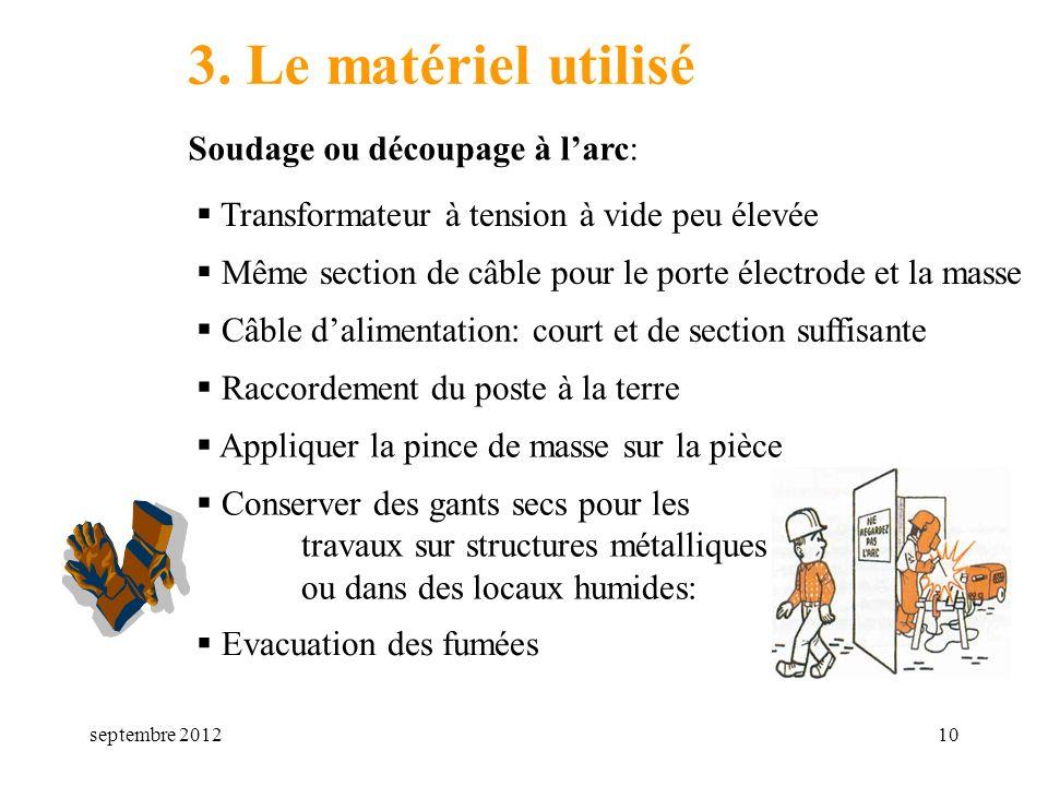 3. Le matériel utilisé Soudage ou découpage à l'arc: