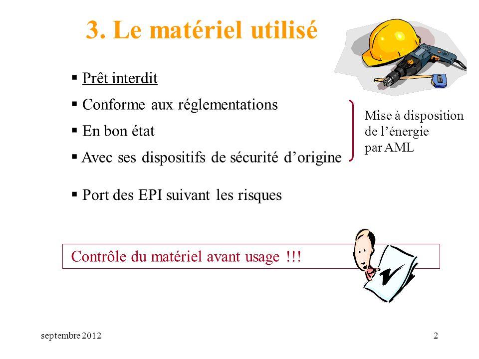 3. Le matériel utilisé Prêt interdit Conforme aux réglementations