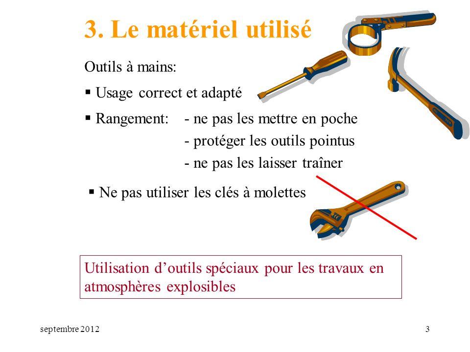 3. Le matériel utilisé Outils à mains: Usage correct et adapté