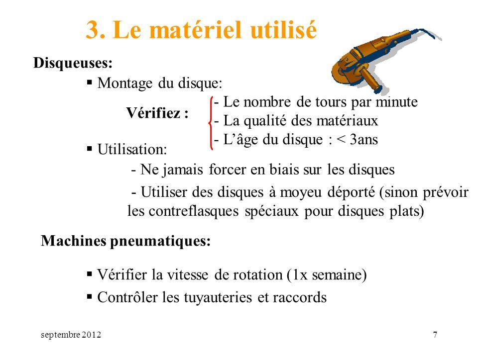 3. Le matériel utilisé Disqueuses: Montage du disque: