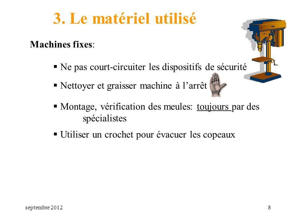 3. Le matériel utilisé Machines fixes: