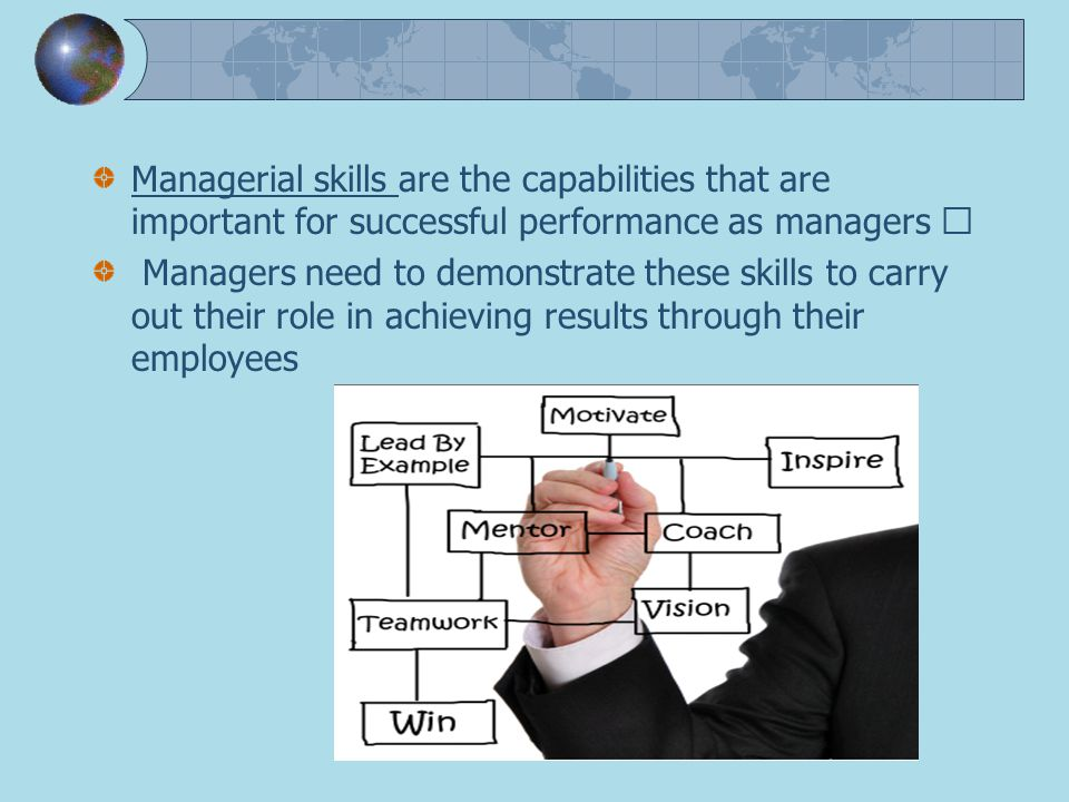 own managerial skills performance While there are many important leadership skills and competencies, coaching  skills are central to improving the performance of entire teams  make a  commitment to improve your own skills and competencies if you're not.