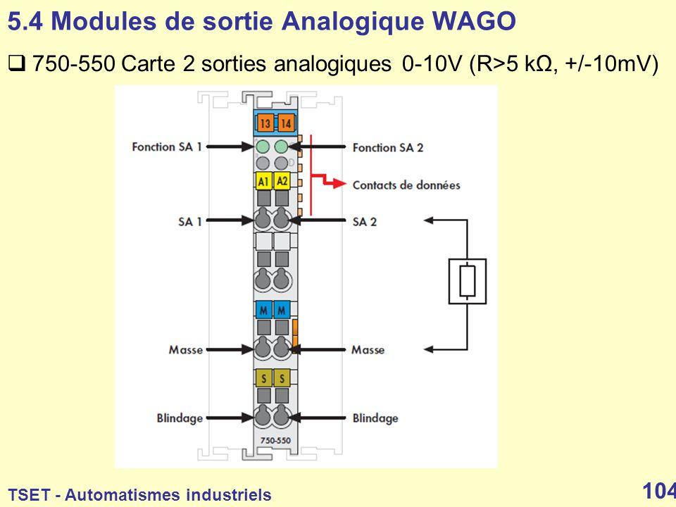 5.4 Modules de sortie Analogique WAGO
